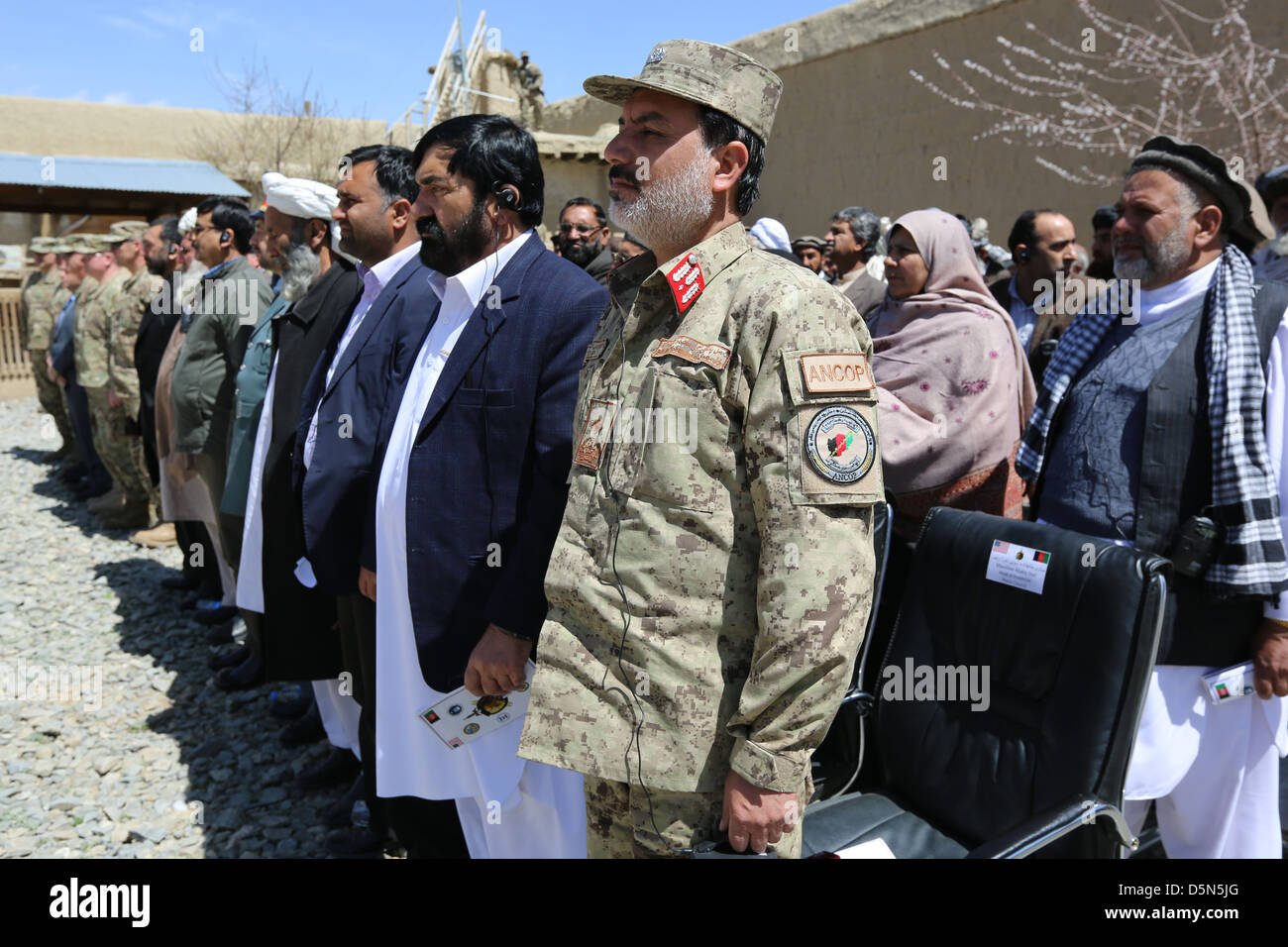 Local Afghan officials during the closing ceremony of Provincial Reconstruction Team Gardez April 3, 2013 in Gardez, - Stock Image