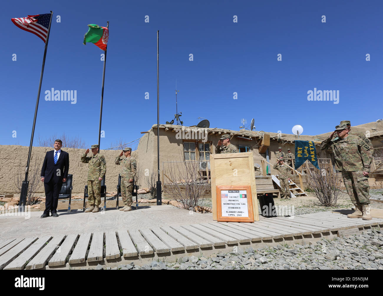 US Ambassador Stephen McFarland (left) during the closing ceremony of Provincial Reconstruction Team Gardez April - Stock Image