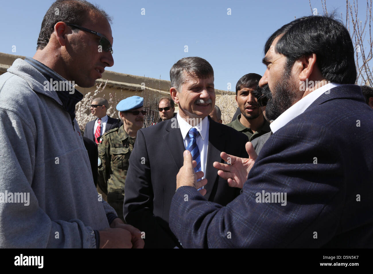 US Ambassador Stephen McFarland (center) during the closing ceremony of Provincial Reconstruction Team Gardez April - Stock Image