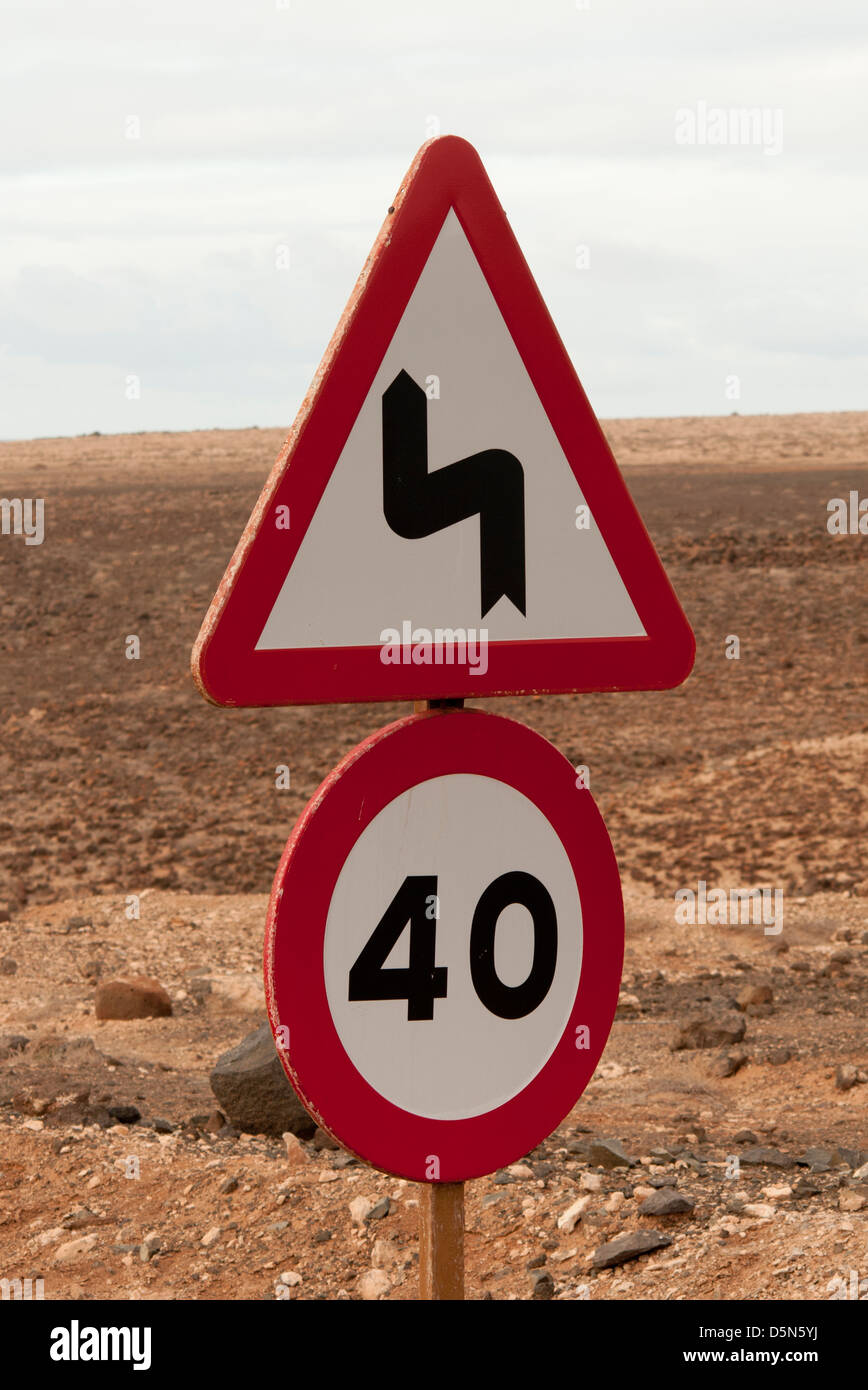 forty and bends road signs, highway code - Stock Image