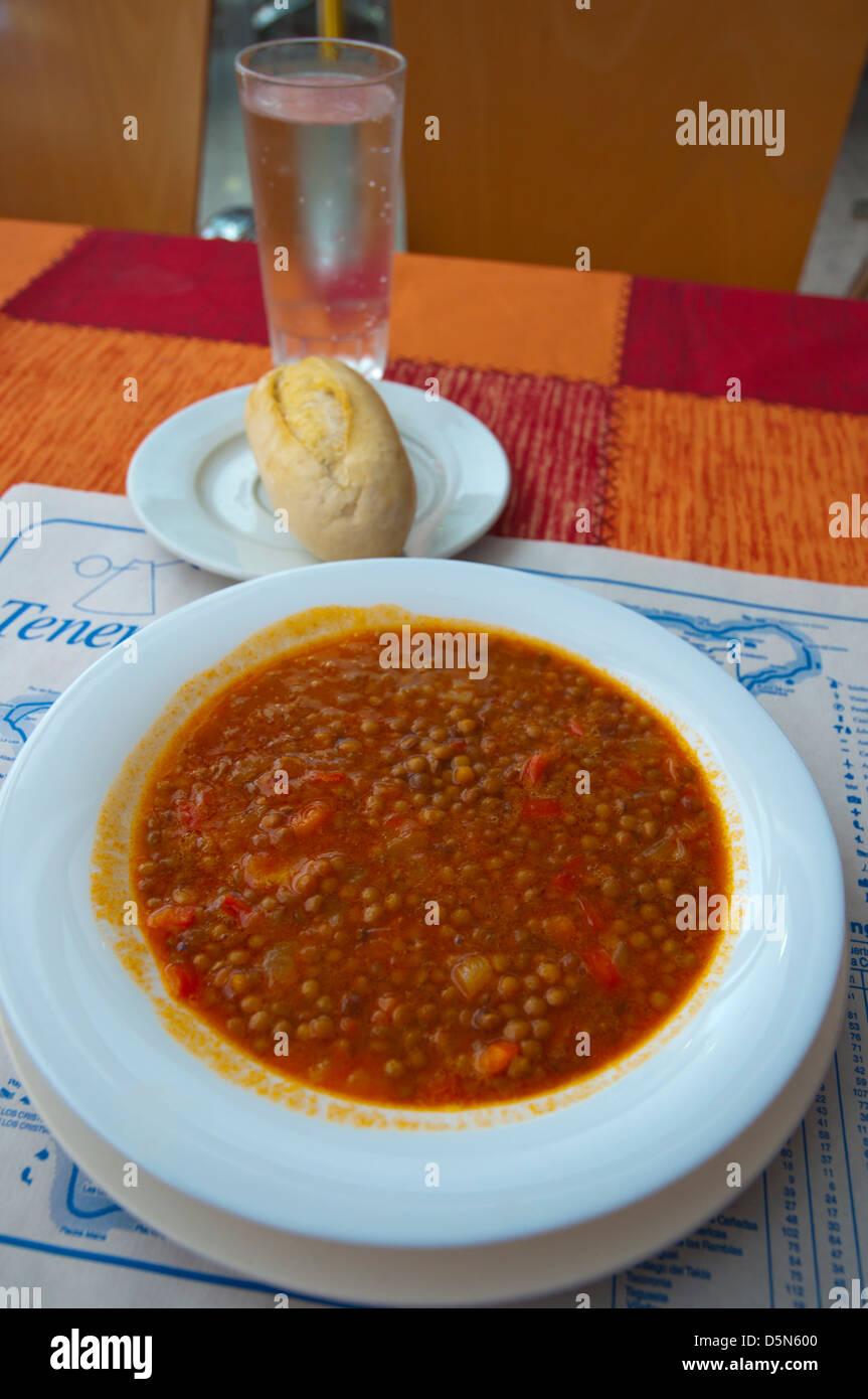 Lentil stew dish El Medano town Tenerife island the Canary Islands Spain Europe Stock Photo