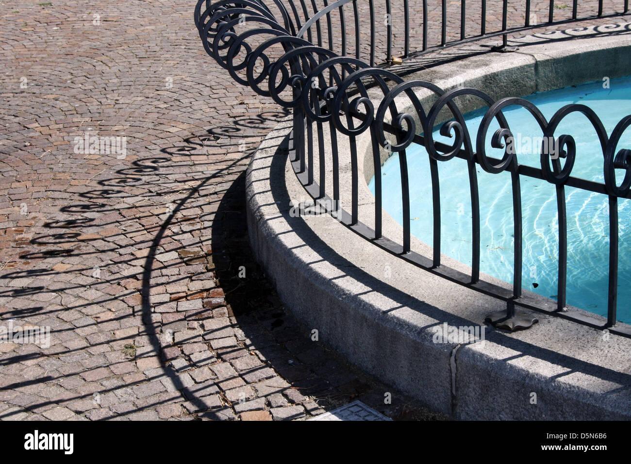 Circular Railings For Fountain. Garden