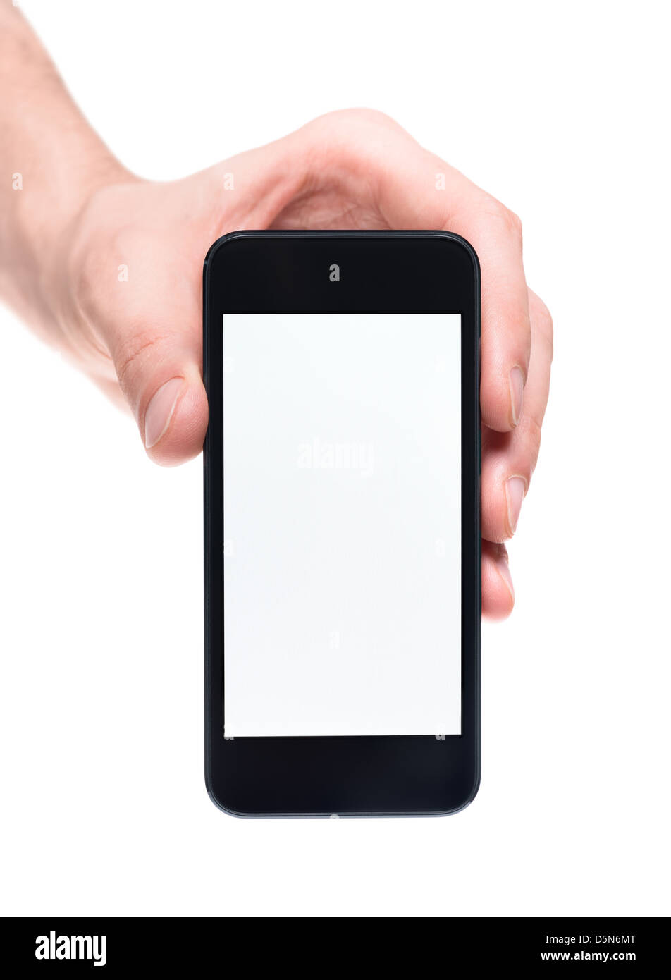 Men's hand holding and showing modern mobile smartphone with blank screen. Isolated on white background. - Stock Image