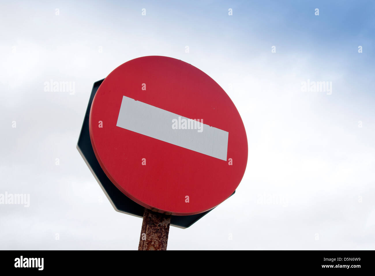 red no entry road sign - Stock Image