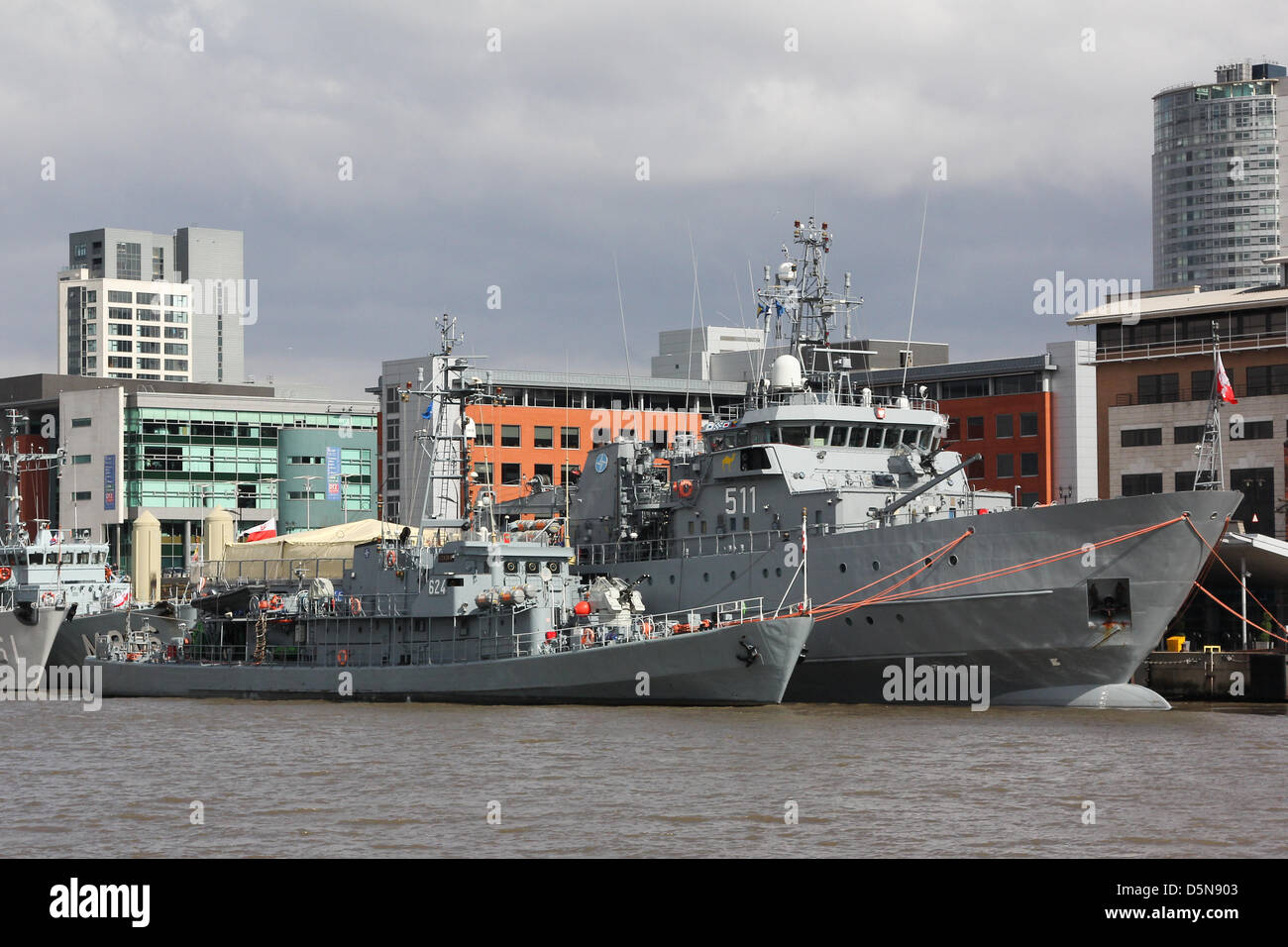 Liverpool, UK. 5th April 2013. ORP Czernicki and ORP Czajka berthed at the terminal. Seven warships are berthed - Stock Image