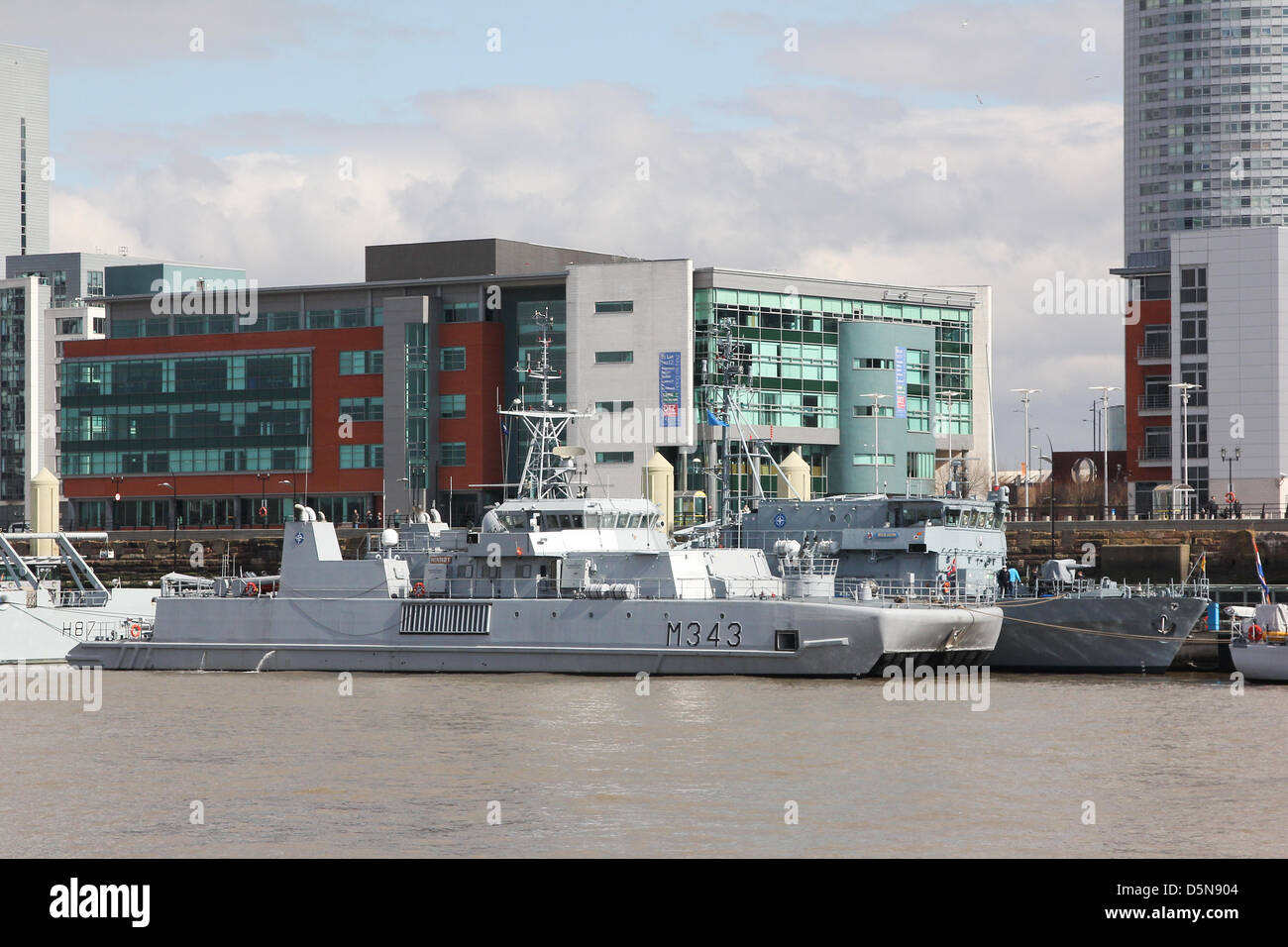 Liverpool, UK. 5th April 2013. HNOMS Hinnoey and FGS Wilheim berthed at the terminal. Seven warships are berthed - Stock Image