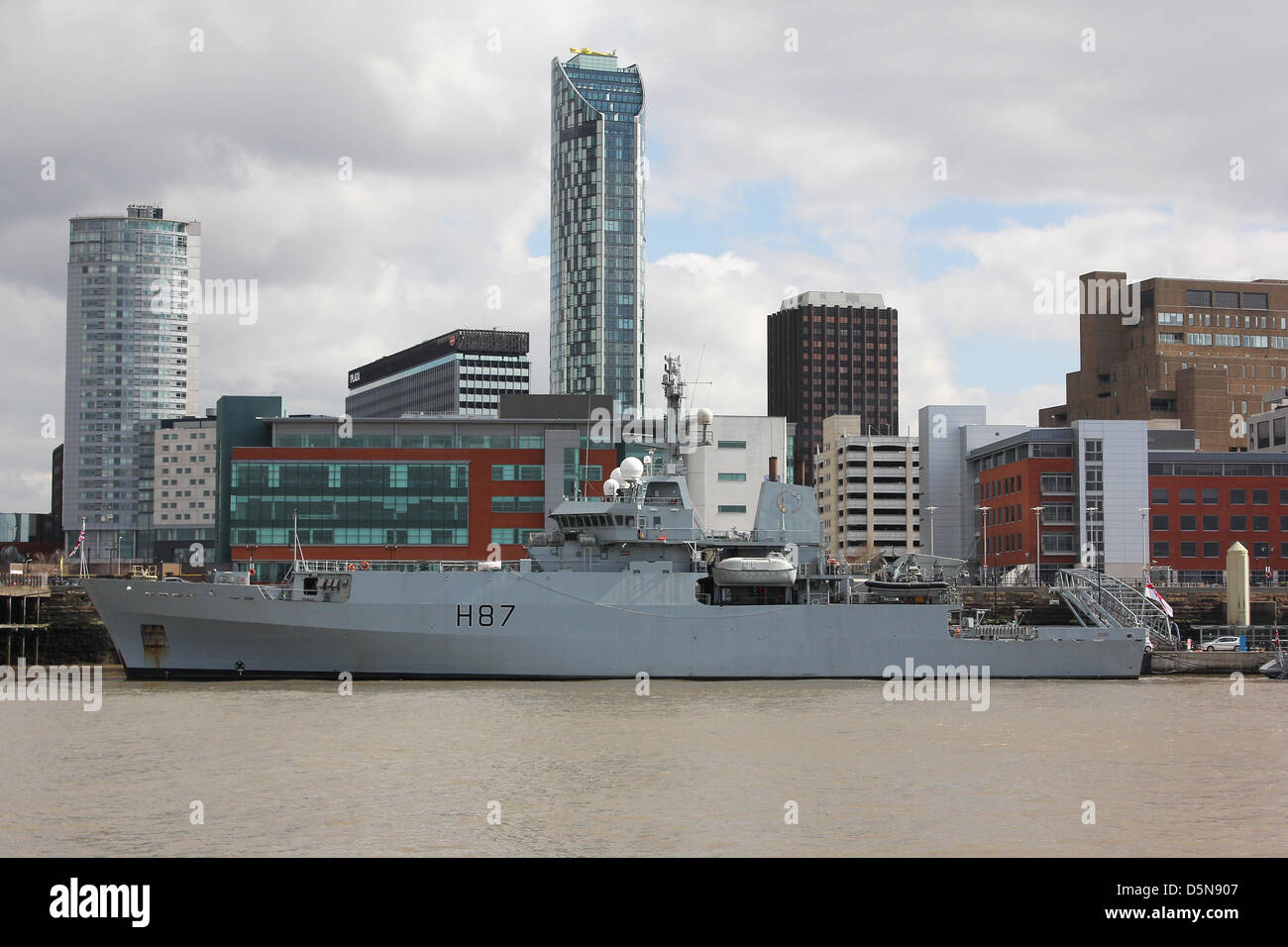 Liverpool, UK. 5th April 2013. Royal Navy's HMS Echo berthed at the terminal. Seven warships are berthed at - Stock Image
