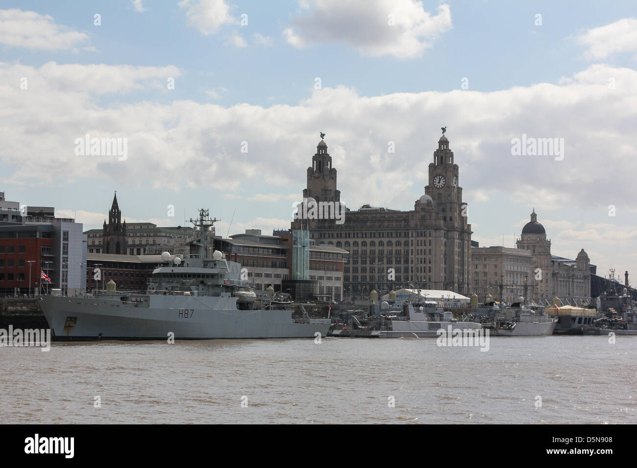 Liverpool, UK. 5th April 2013. Seven warships are berthed at Liverpool's cruise terminal for a weekend visit to - Stock Image