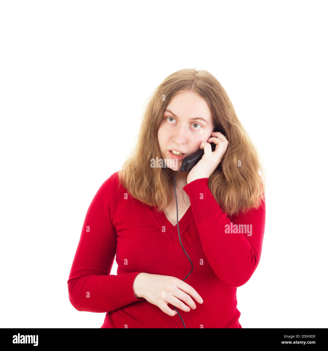 Young woman calling somebody - Stock Image