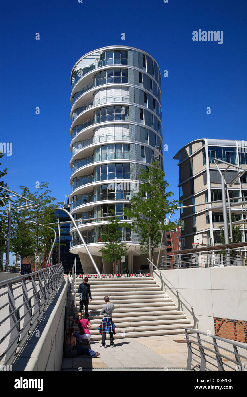 Hafencity, tower at Kaiserkai, Hamburg, Germany - Stock Image