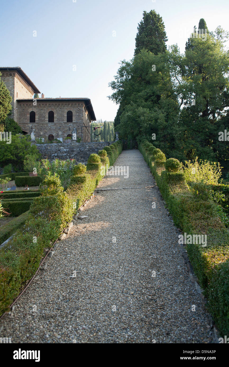 Viwe over the formal garden, Villa Peyron Story Fiesole Florence Italy Stock Photo