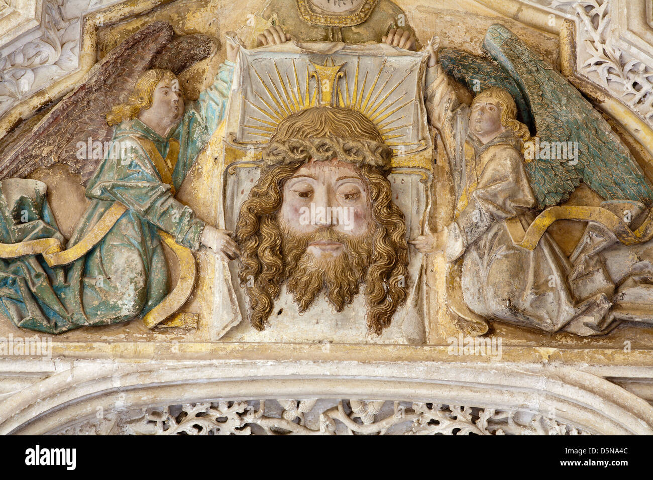 TOLEDO - MARCH 8: Detail from portal of Gothic atrium of Monasterio San Juan de los Reyes or Monastery of Saint - Stock Image