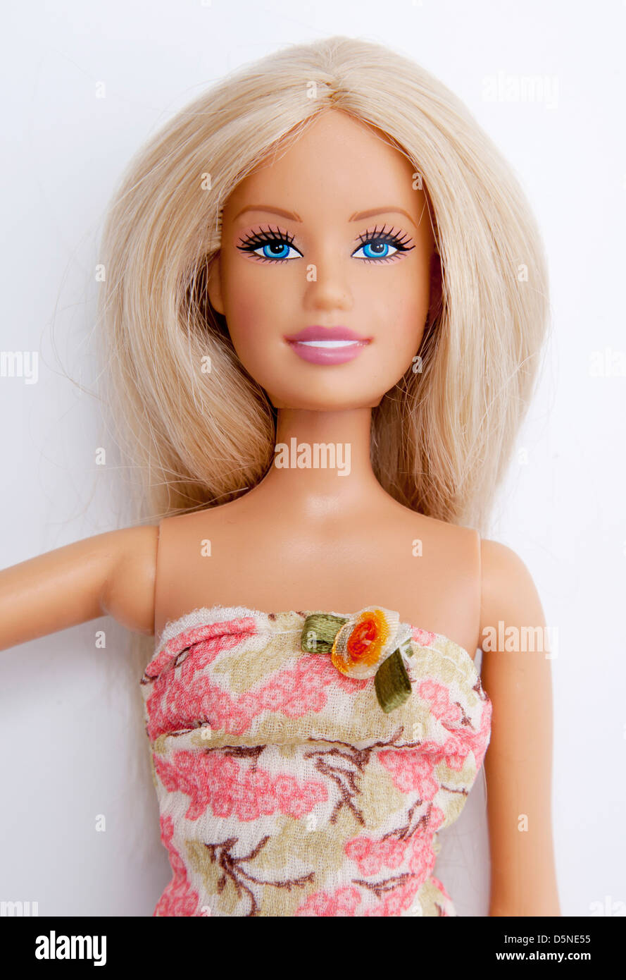 Close Up Of Barbie Doll Wearing A Pink Dress