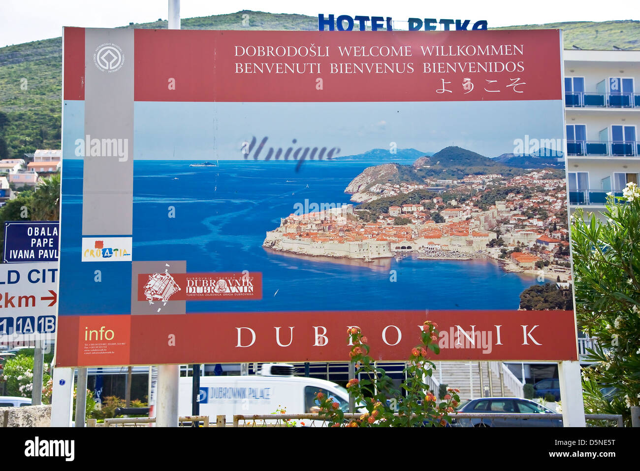 Welcome to Dubrovnk street billboard. - Stock Image