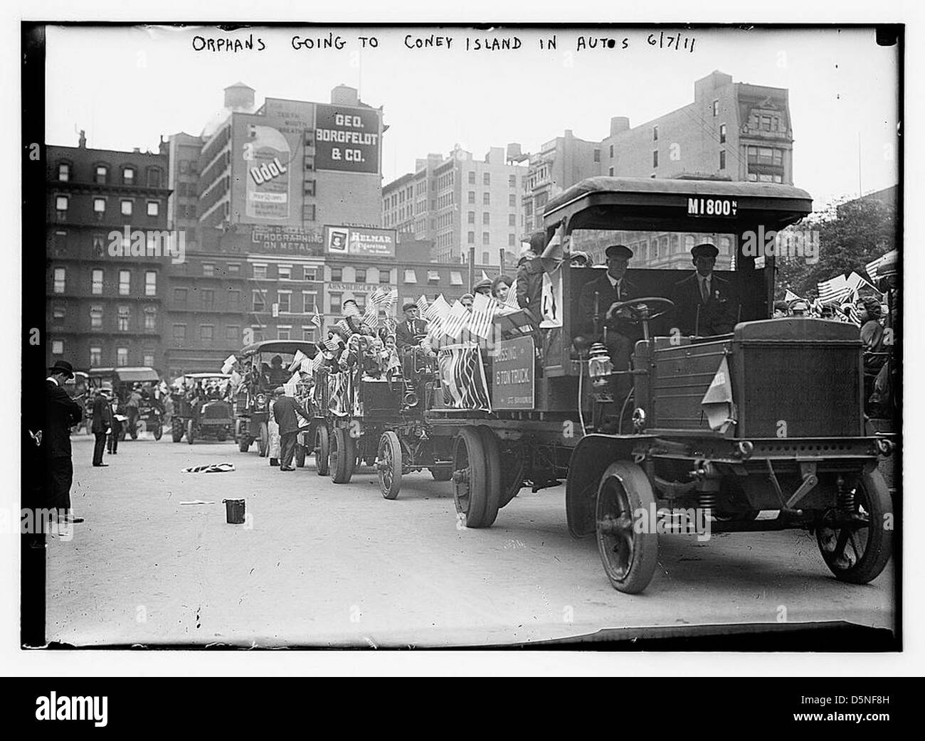 Orphans going to Coney Island in Autos, 6/7/11 (LOC) - Stock Image