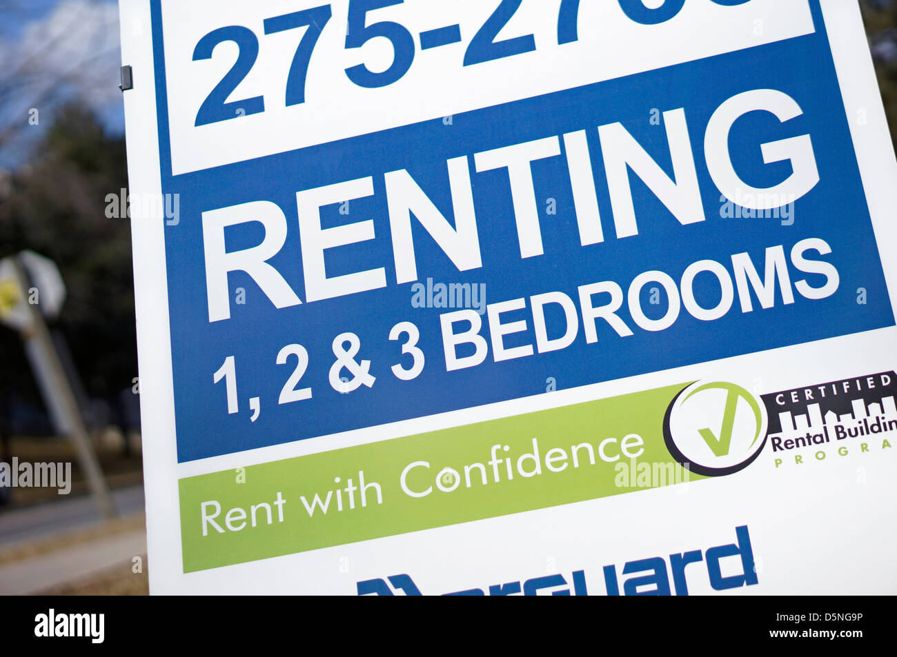 Rent Sign, Apartments for Rent, Ontario, Canada - Stock Image
