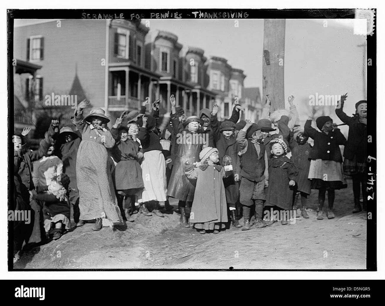 Scramble for pennies - Thanksgiving (LOC) - Stock Image