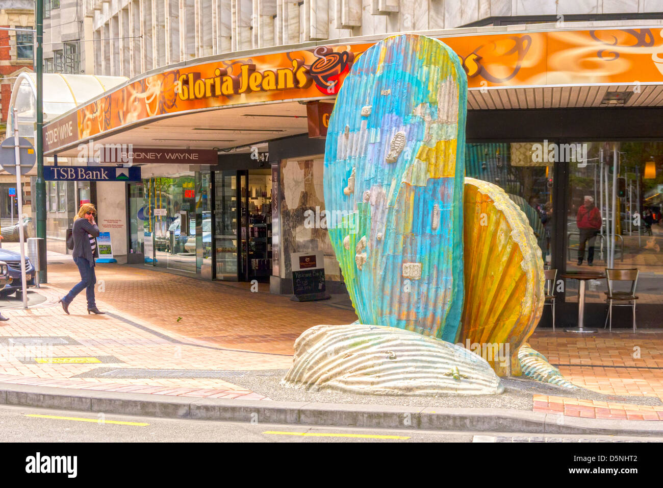 Shells sculpture by Jeff Thomson, corner of Waring Taylor Street and Lambton Quay - Stock Image