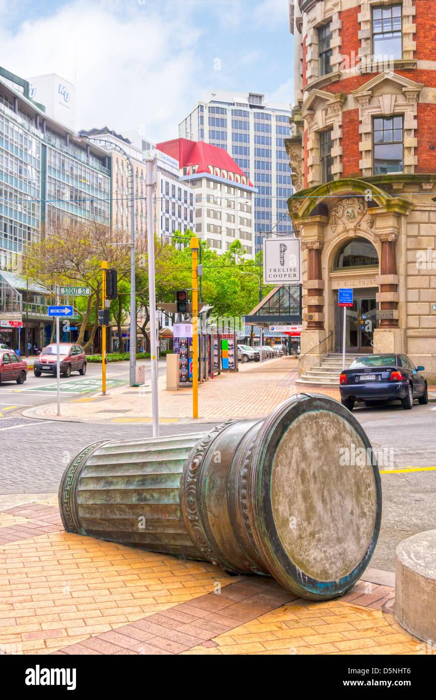Street scene corner of Lambton Quay and Stout Street, Wellington, New Zealand. - Stock Image