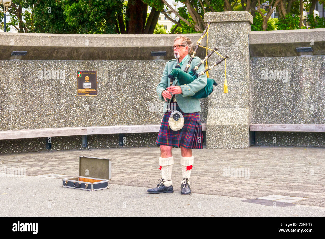Piper playing bagpipes in Wellington, New Zealand. - Stock Image
