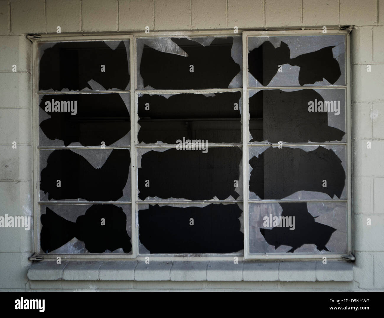 broken window panes - Stock Image