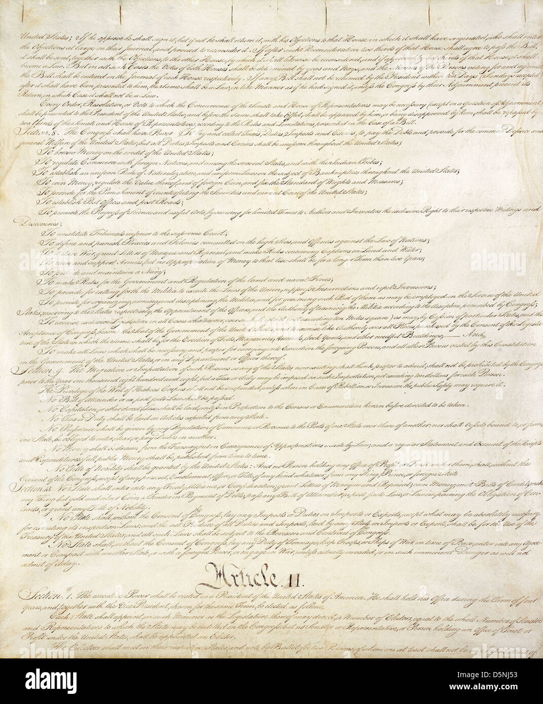second page of constitution of the united states national archives and records administration washington dc