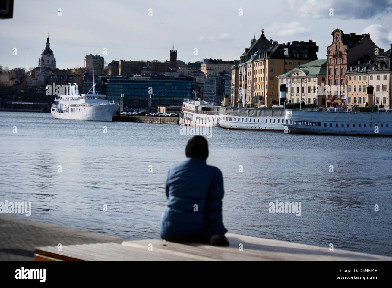 Scandinavia; Sweden; Swedish; Stockholm; Baltic; Sea; Ships; Ship; Harbour; Sitting; Relax; Panorama; Person; Lonely; - Stock Image