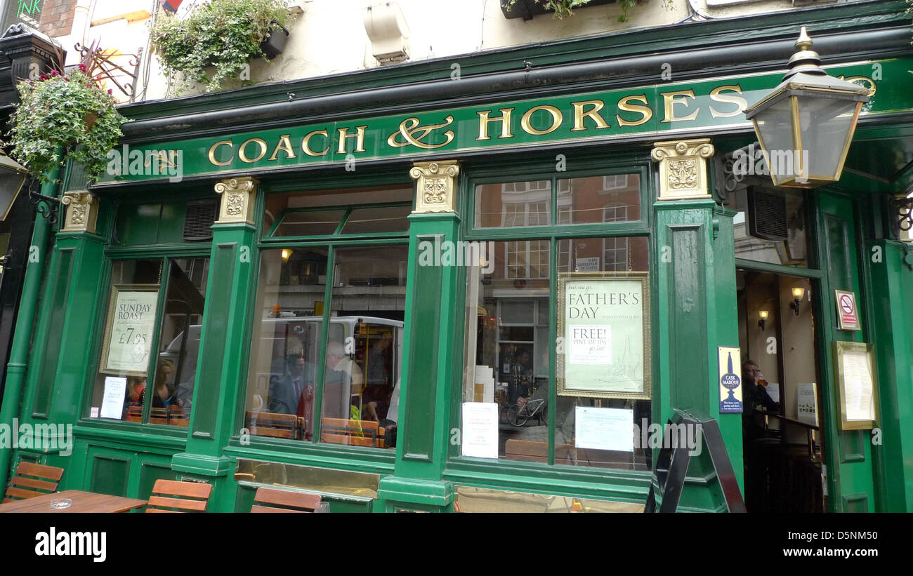 The Coach & Horses pub on Great Marlborough Street in Soho, London, UK. - Stock Image