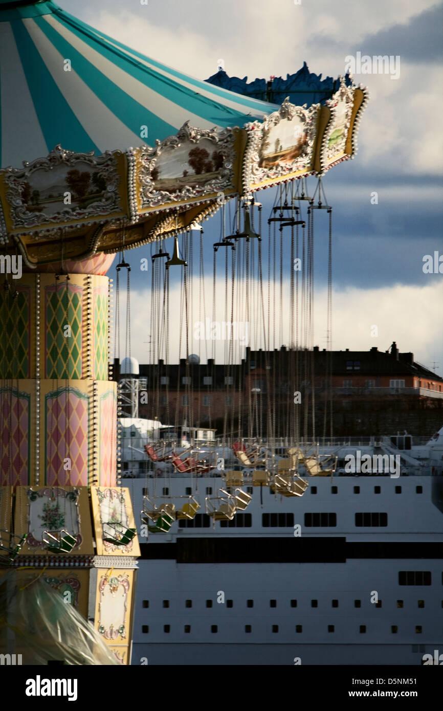 Scandinavia; Sweden; Swedish; Stockholm; Baltic; Sea; Ships; Ship; Amusement; Park; Gröna Lund; Royal Djurgården; - Stock Image