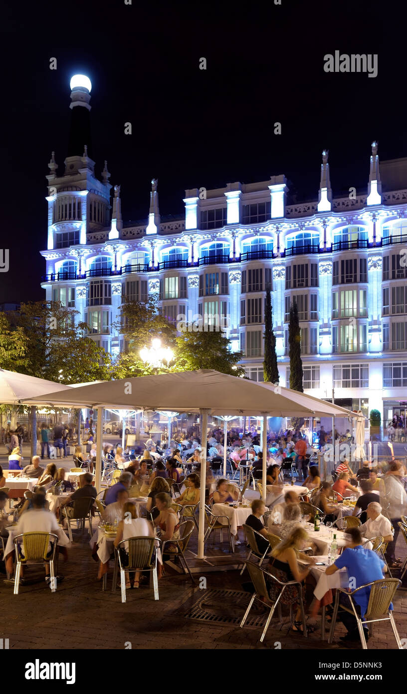 Terraces At Santa Ana Square By Night Madrid Spain Stock