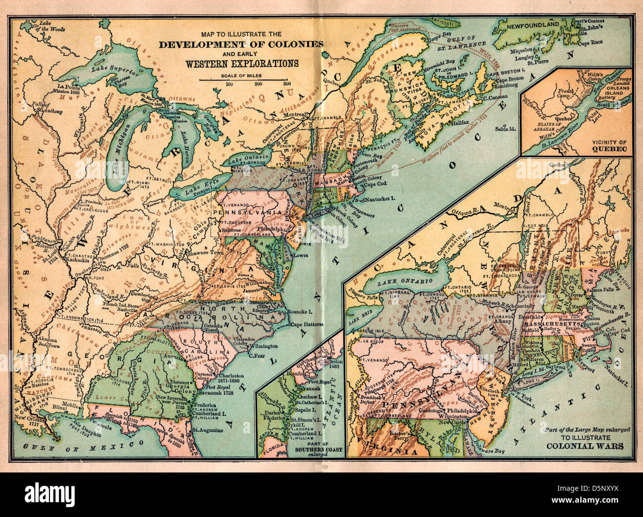 Vintage map of United States America - Development of Colonies and Western Exploration and Colonial Wars - Stock Image
