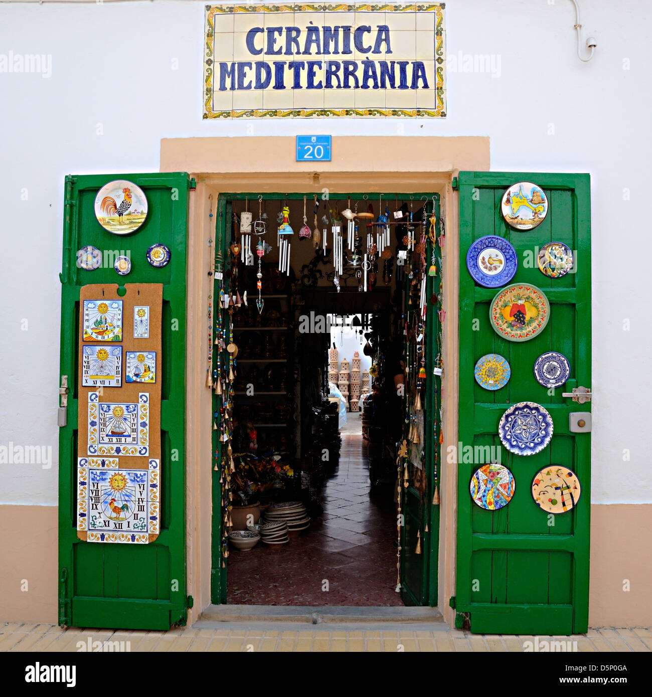 Mediterranian pottery shop. Formentera, Balearic Islands, Spain - Stock Image