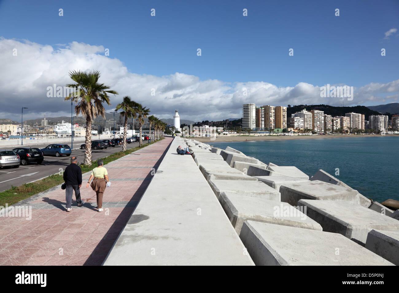 Promenade at the port of Malaga, Andalusia Spain - Stock Image