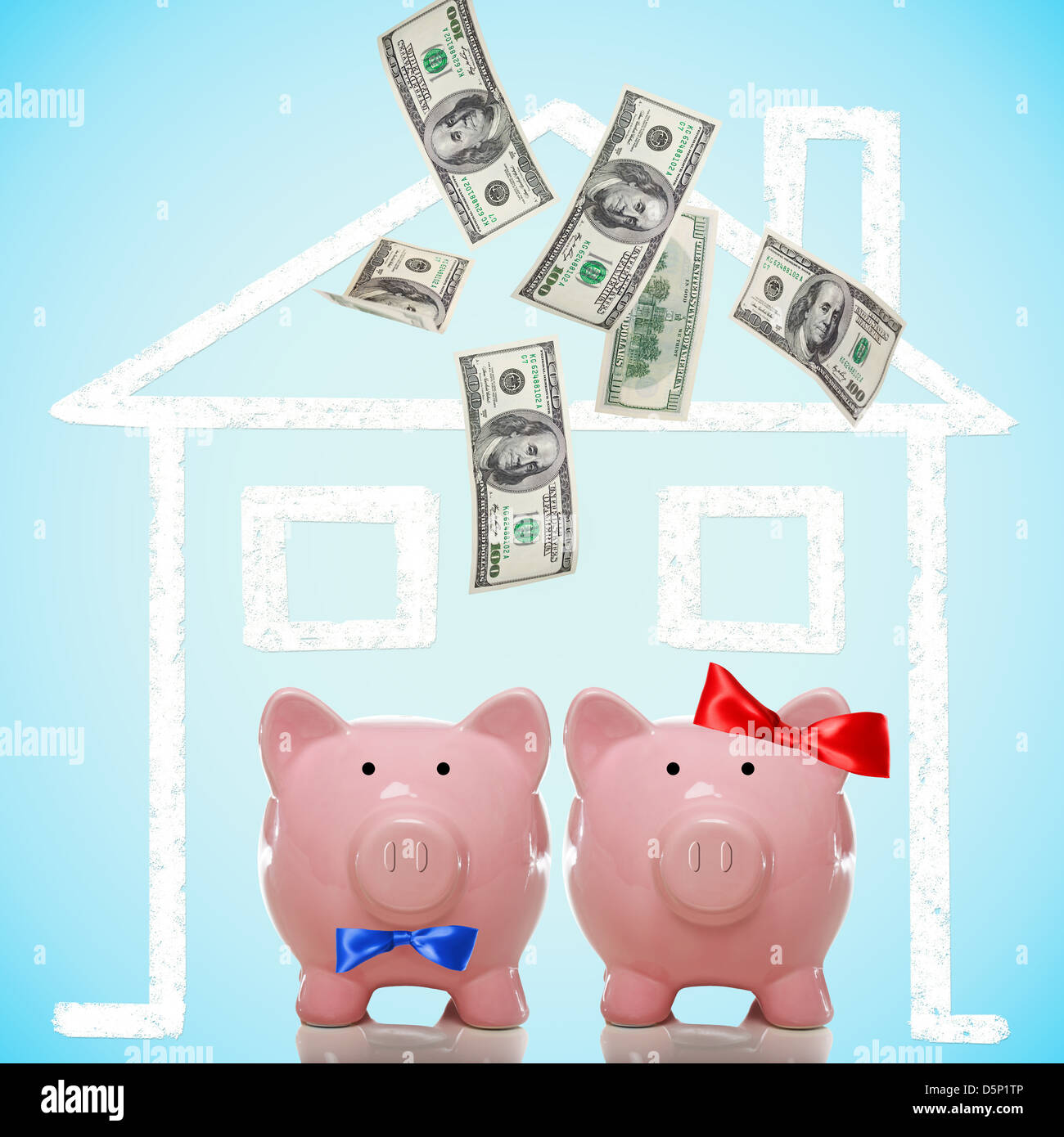 Piggy bank couple buying or dreaming of a new home with flying money - Stock Image