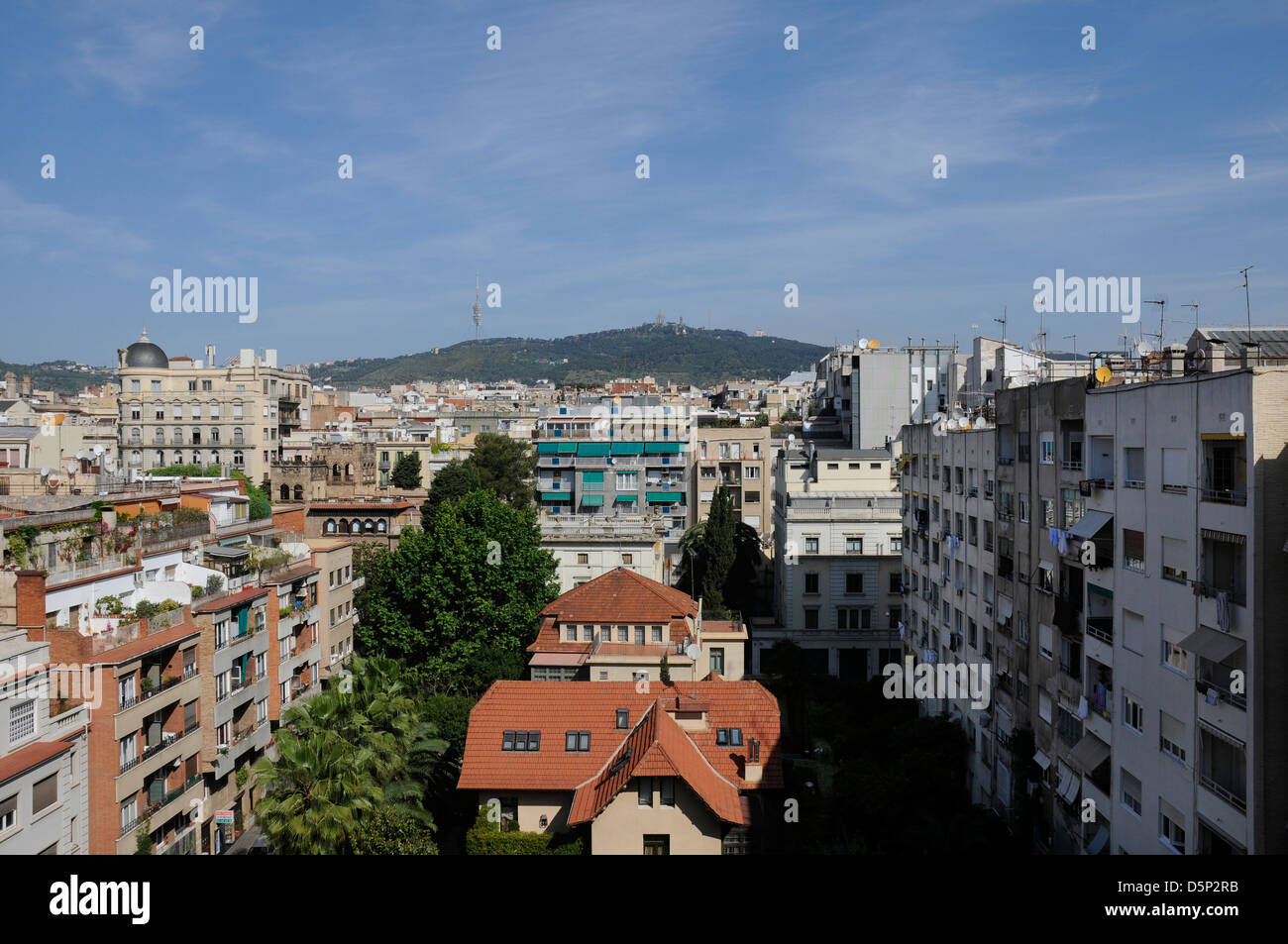view of the north of Barcelona city from a roof in the sant gervasi  neighborhood - Stock Image