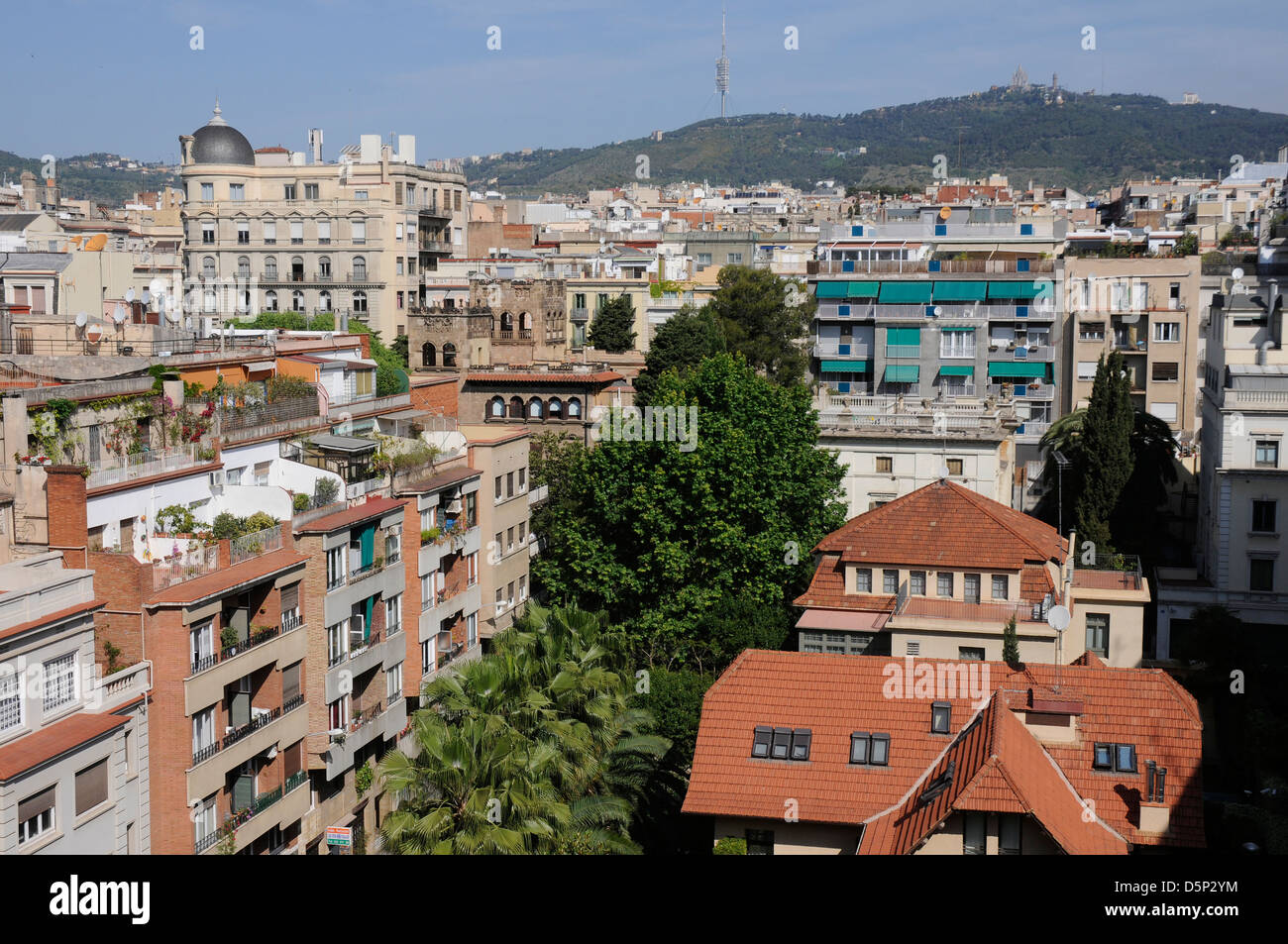 view of the north of Barcelona city from a roof in the sant gervasi neighborhood district - Stock Image