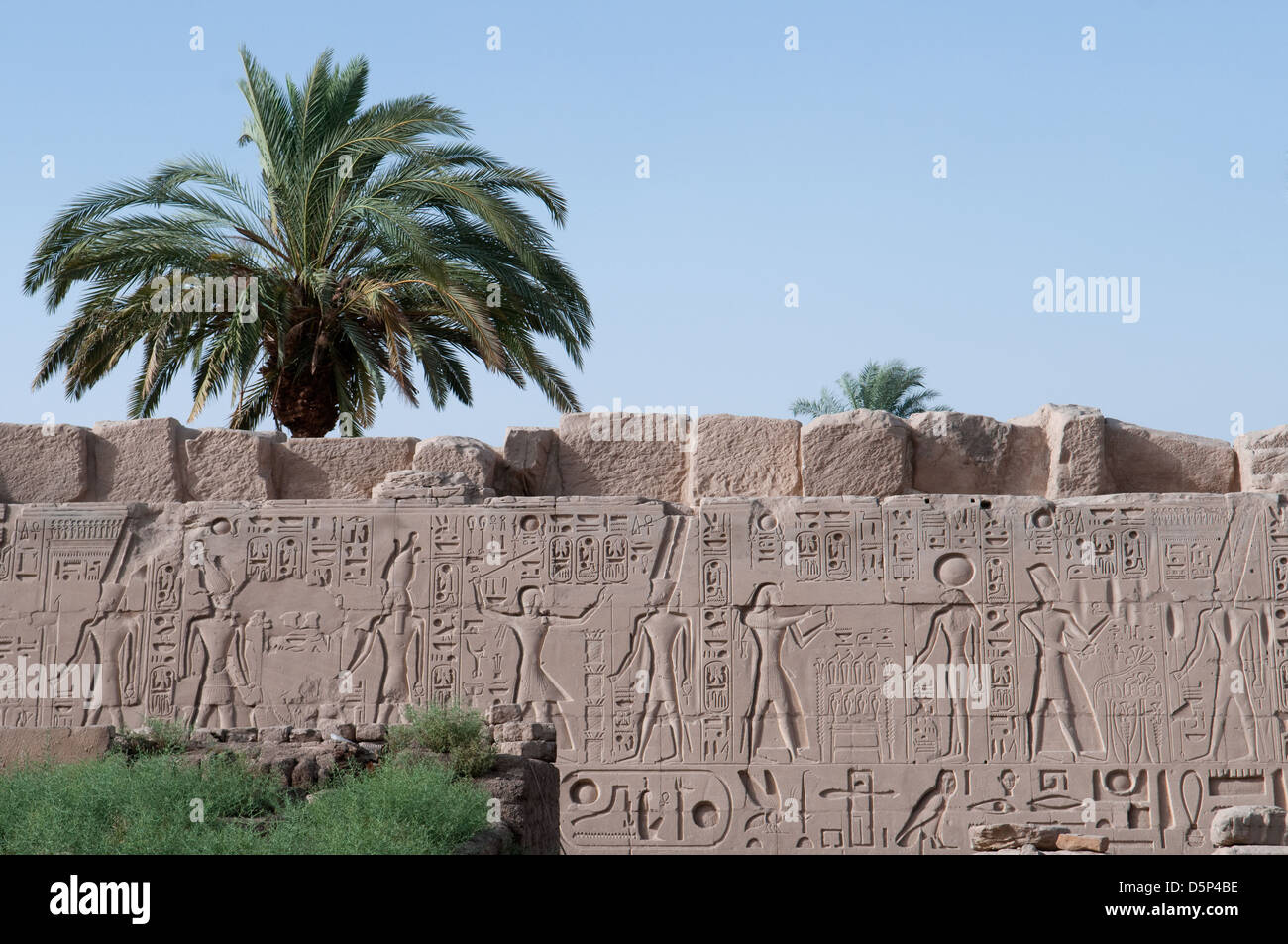 A frieze in the precinct of Amun Re Temple at the Karnak temple complex Luxor Egypt - Stock Image