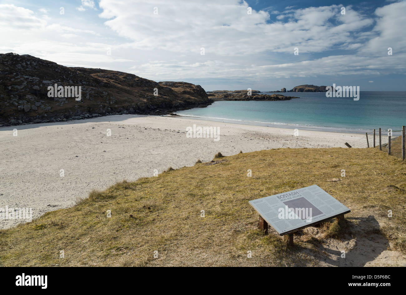 The beach at Bostadh, Great Bernera in the Outer Hebrides of Scotland - Stock Image