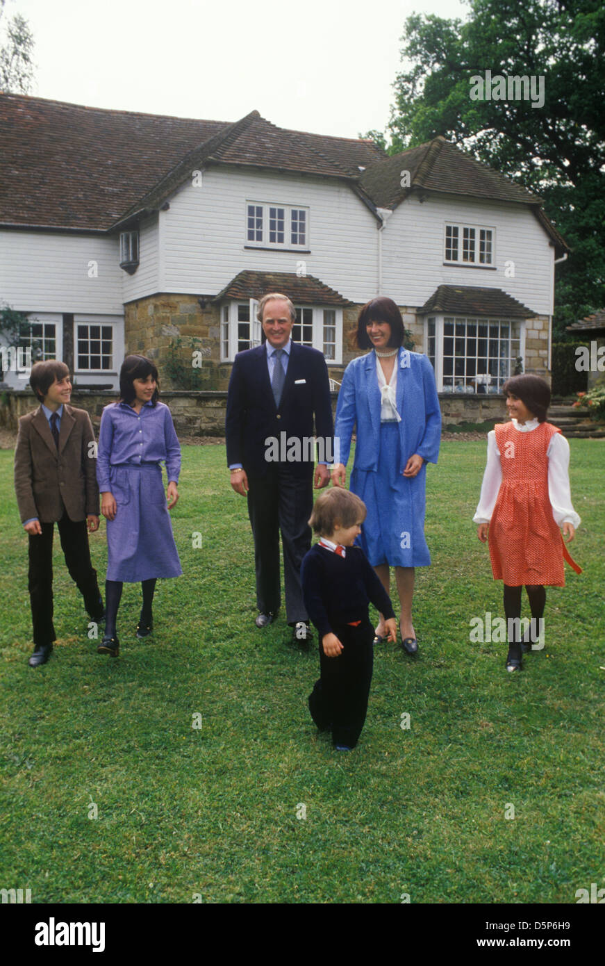 Winston Churchill and family 1980  Broadwater House Chailey Sussex   Uk - Stock Image