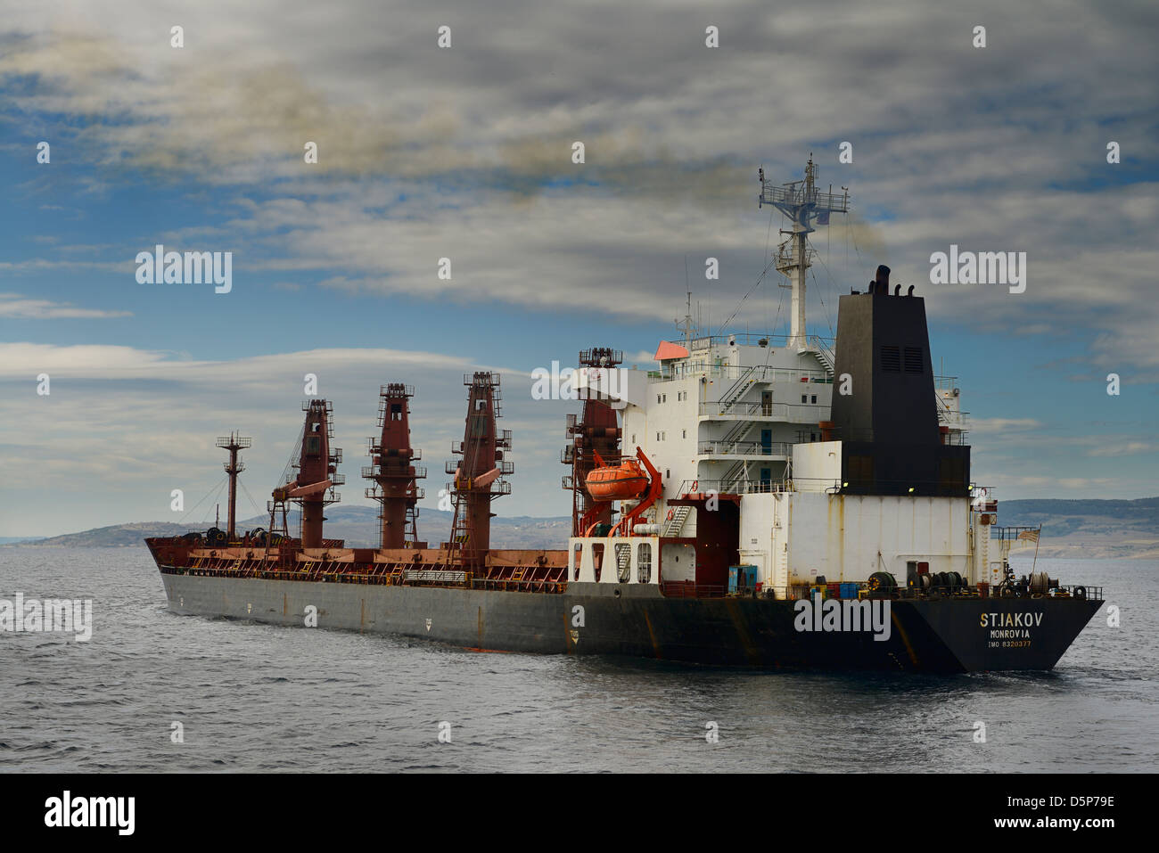 Monrovia bulk carrier ship in the Dardanelles Turkey heading for the Aegean Sea - Stock Image