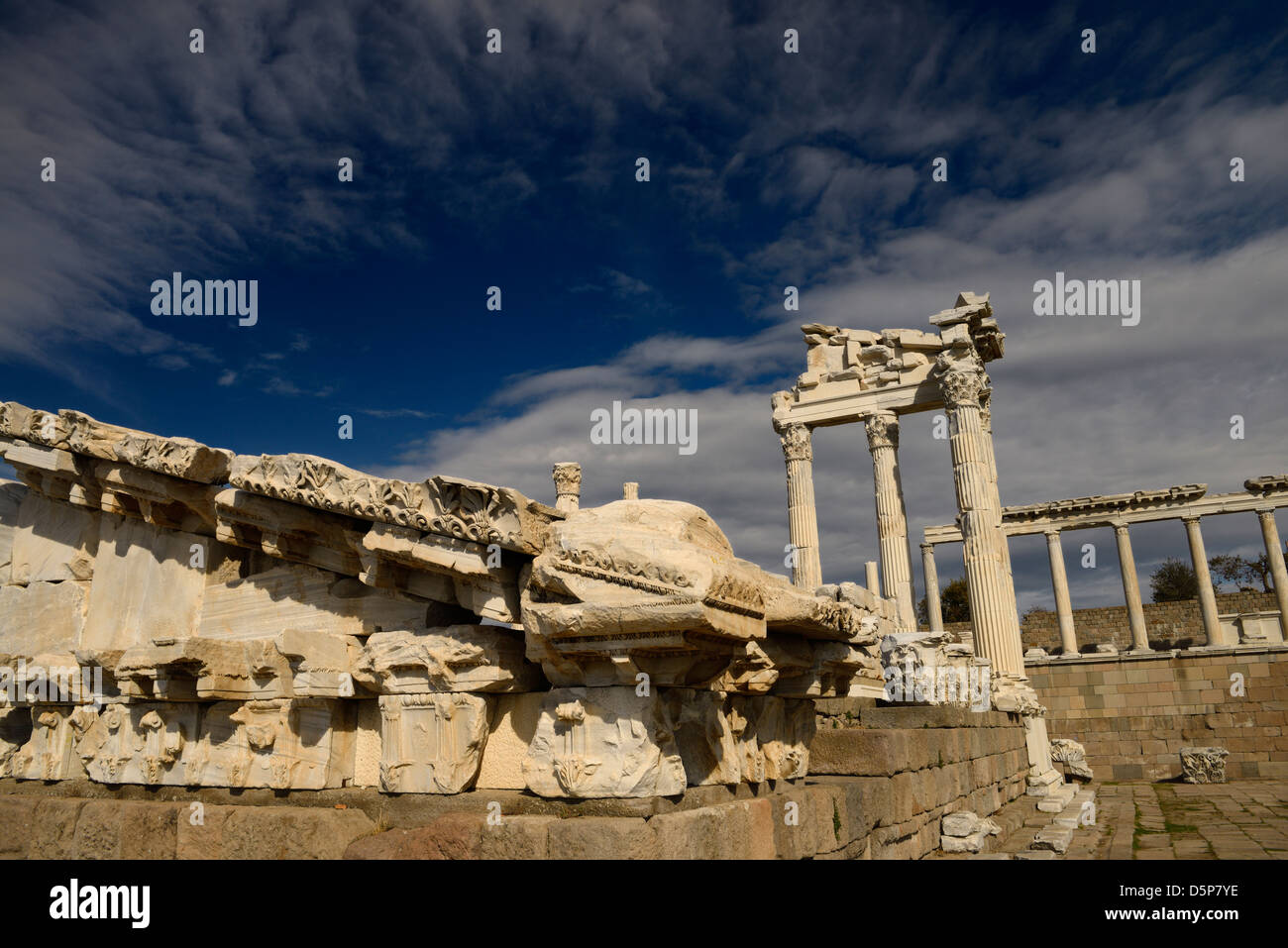 Carved marble pediment among ruins of Temple of Trajan at Pergamon Bergama Turkey - Stock Image