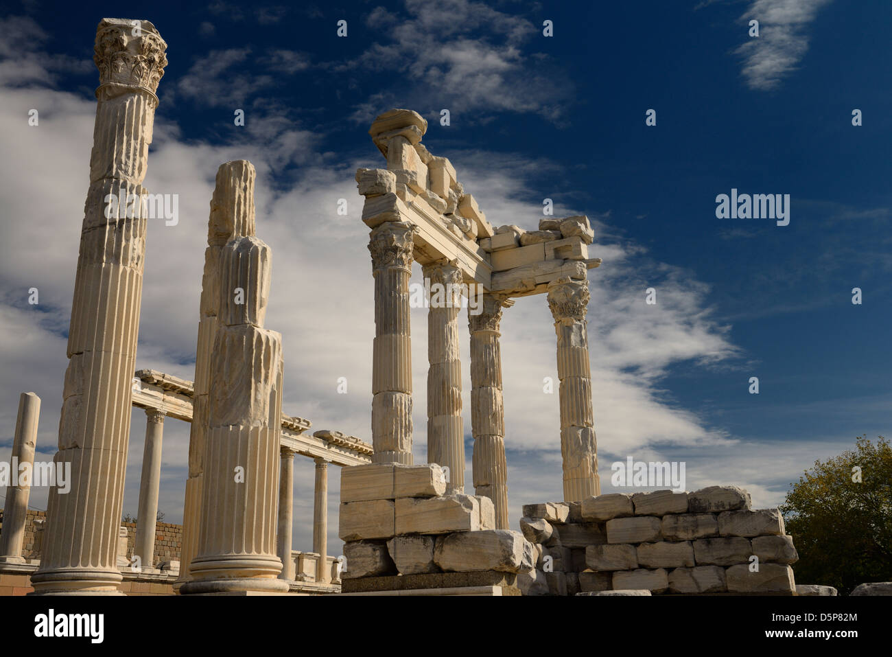 White marble Corinthian columns of Trajan Temple at Pergamon archaeological site Bergama Turkey - Stock Image