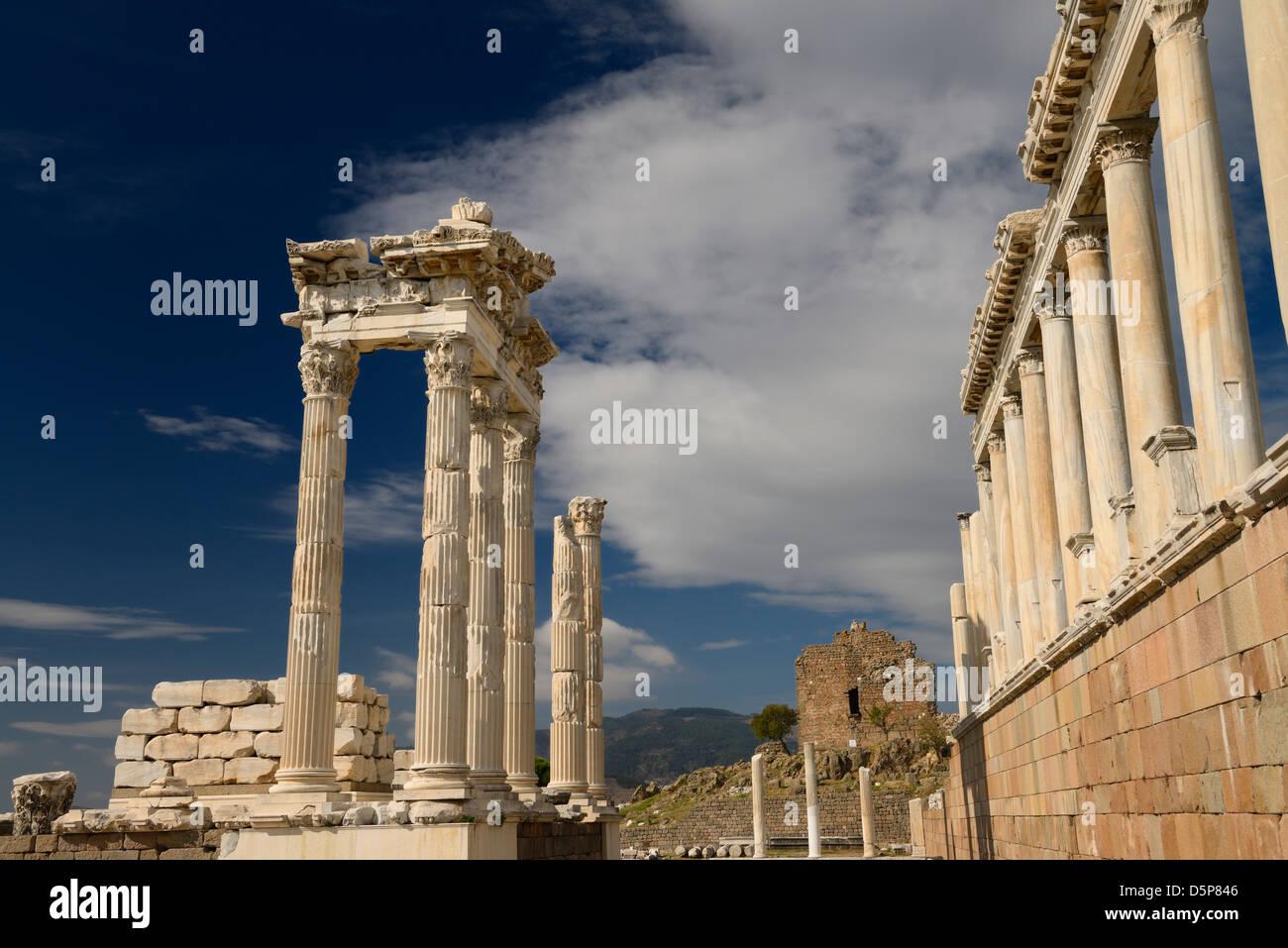 Restored Corinthian columns at ancient Pergamon archaeological site at Bergama Turkey - Stock Image