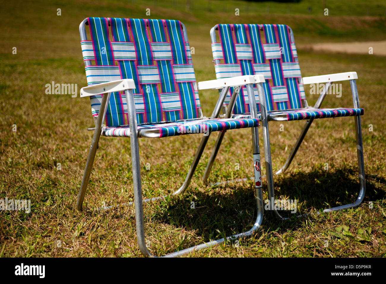 two folding chairs - Stock Image