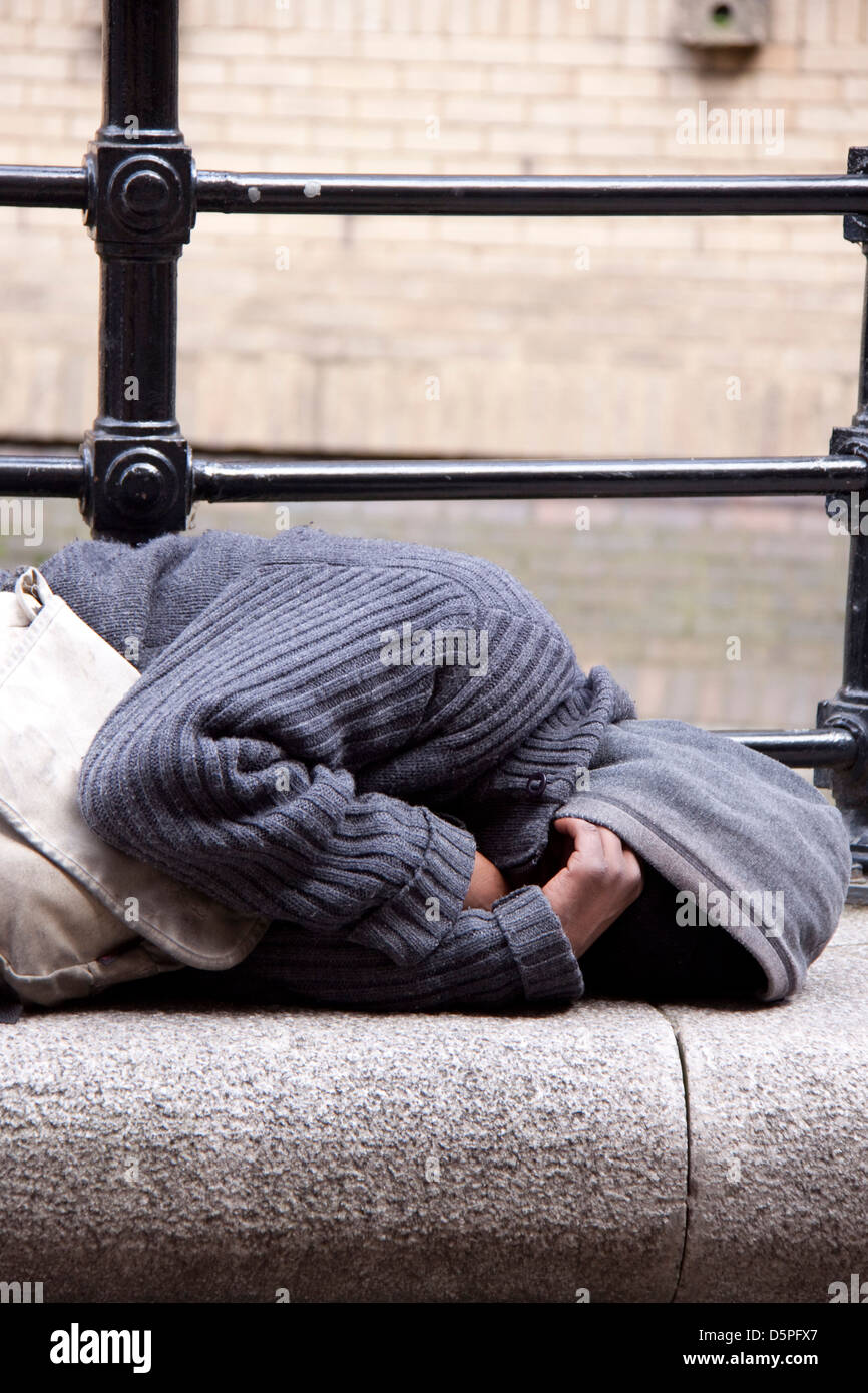 unidentifiable homeless man - Stock Image