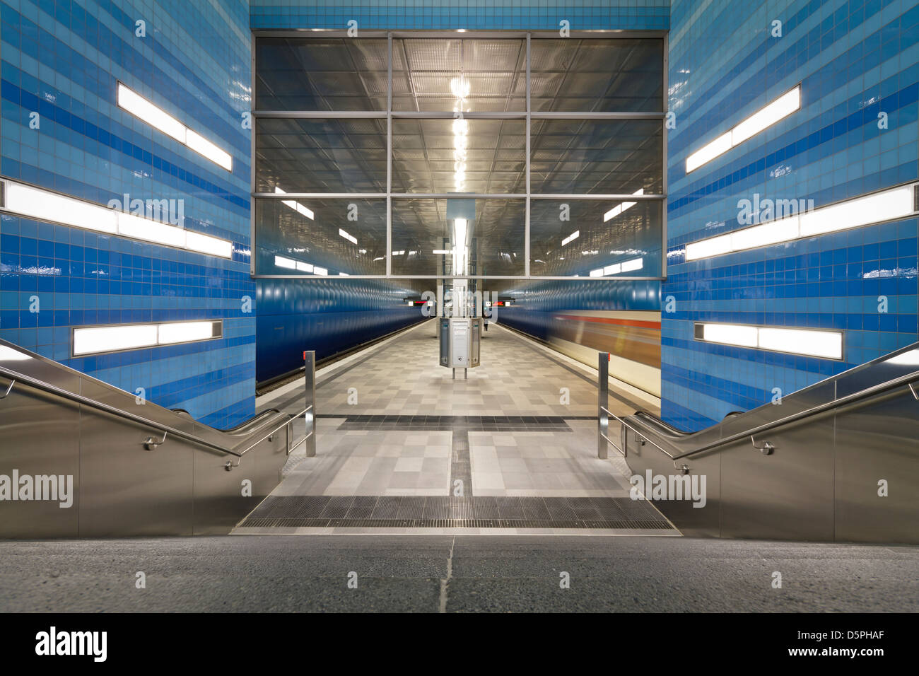 Überseequartier U-Bahn Station in Hamburg Stock Photo