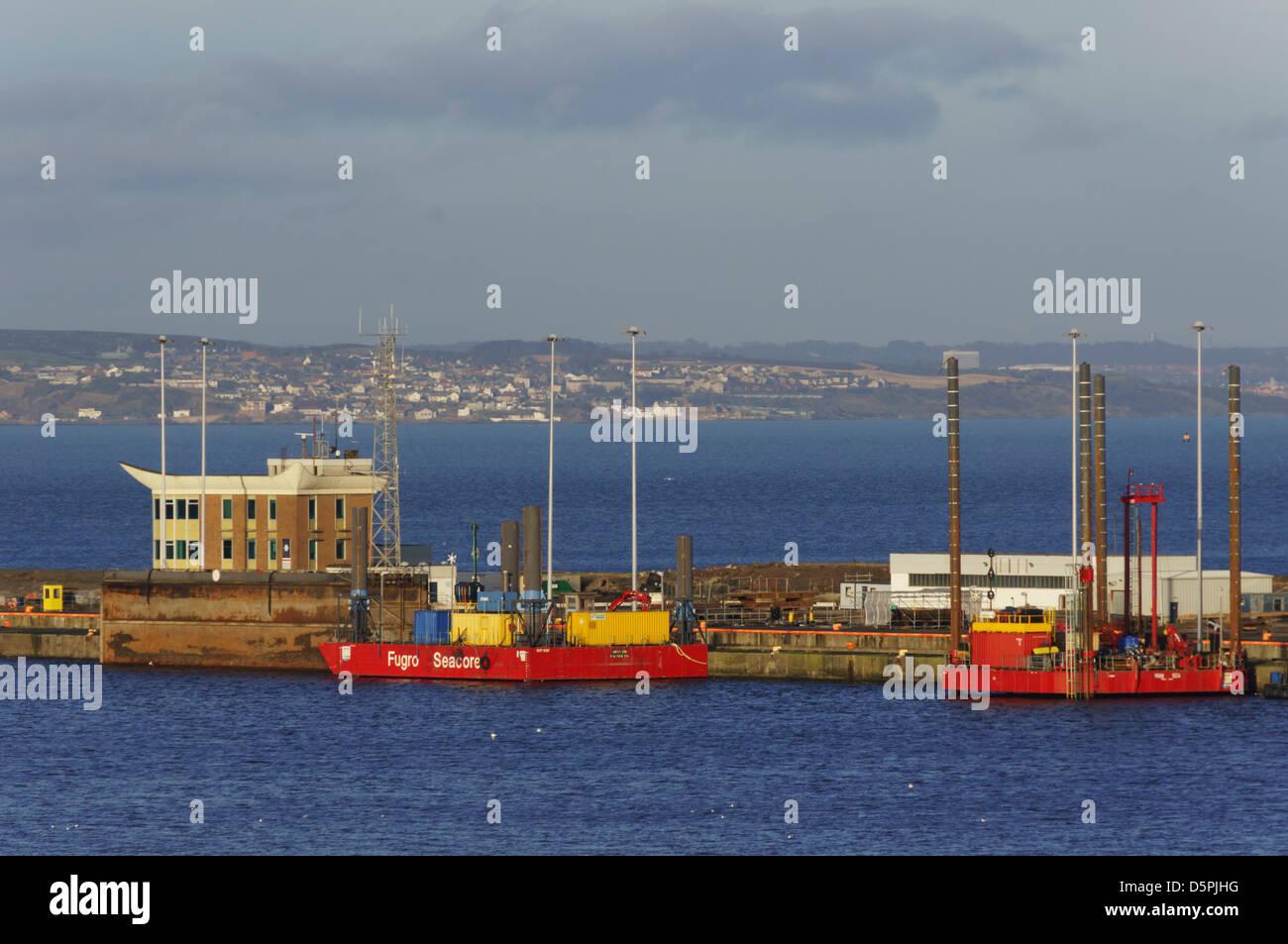 Fugro Seacore, container dock, Leith harbour Edinburgh Scotland - Stock Image