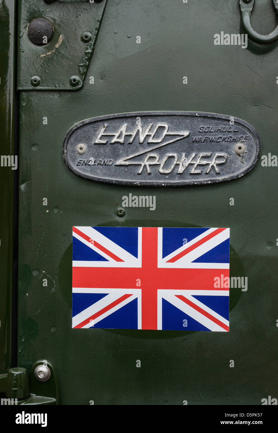 Detail of Land Rover with Union Jack sticker - Stock Image