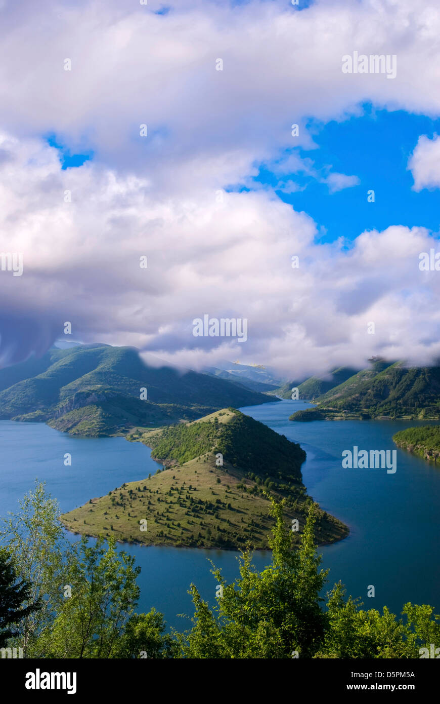 high view of Kardjali lake, Bulgaria in summer - Stock Image