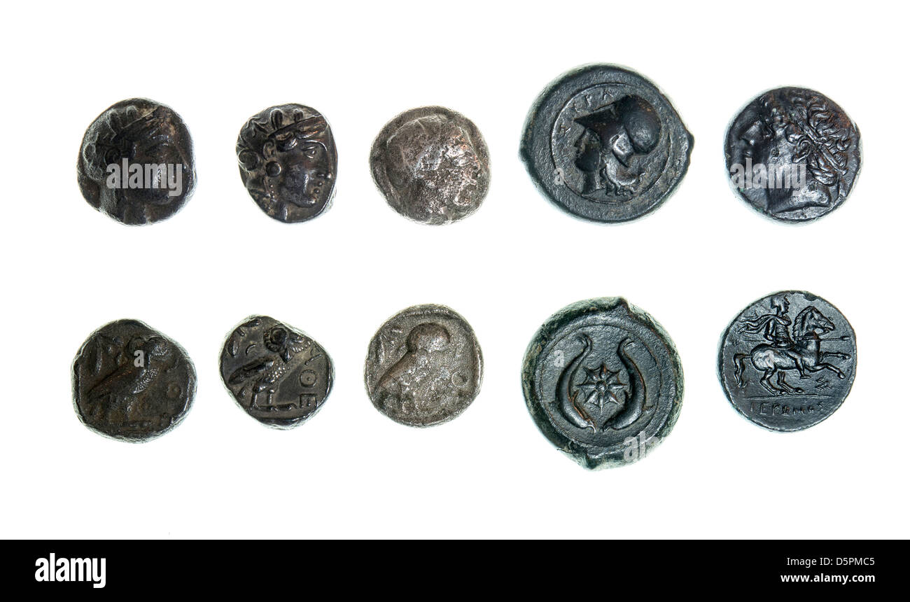 5 Ancient Greek coins Silver tetradrachm 5-4 century BCE depicting the head of Athena - Stock Image